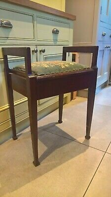 Vintage wooden piano stool, lifting seat, tapestry top- upholstery project?