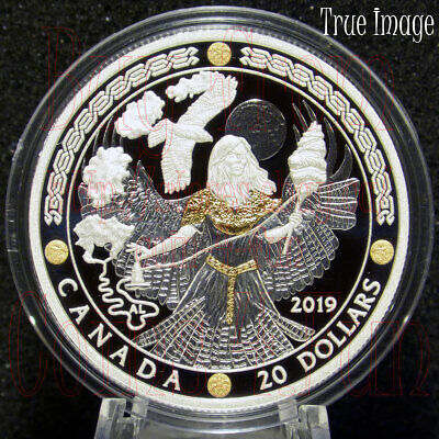 2019 Norse Gods #3 - Frigg - $20 1OZ Proof Pure Silver Gold-Plated Coin - Canada
