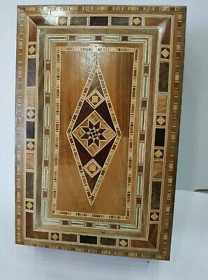 Wooden Box large Wood Jewelry Hand Ornament X Inlaid 1 Storage Cover 40*20 cm