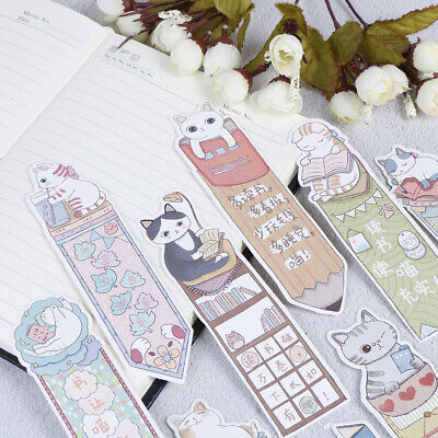 30Pcs/lot Cute Funny Cat Bookmark Paper Cartoon Animals Bookmark FET>r