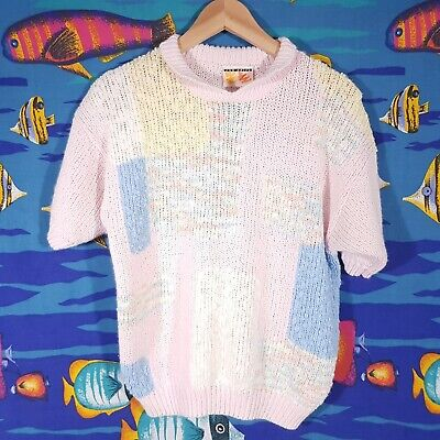 Vintage 80s Sweater Womens Size Small Retro Jumper Acrylic Pastel Knit Bright