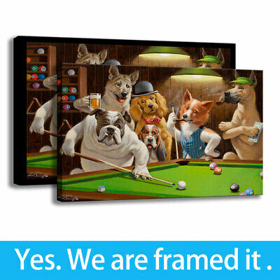 Wall Art Dogs Playing Pool Print Bedroom Decor Painting on Canvas Cartoon 16x24