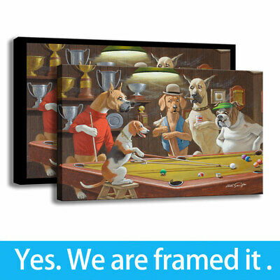 Art Painting HD Print Canvas Cartoon Room wall Decor Dogs Playing Pool 12X18