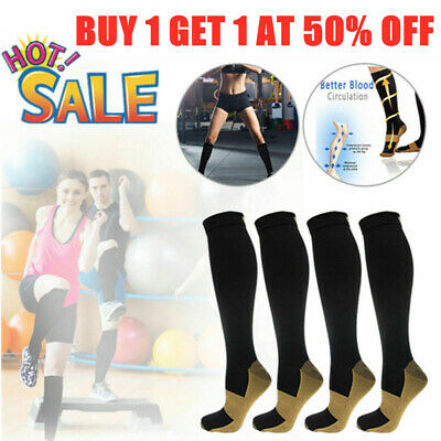 1 Pair Men's Women's Copper Infused Energy Knee High Compression Socks S-XXL