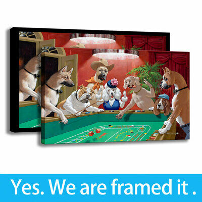 Wall Art Print Dogs Playing Craps Canvas Painting Club Porch Decor Cartoon 12X18