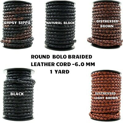 Xsotica-Round Bolo Braided Leather Cord 6.0 MM - 1 Yard