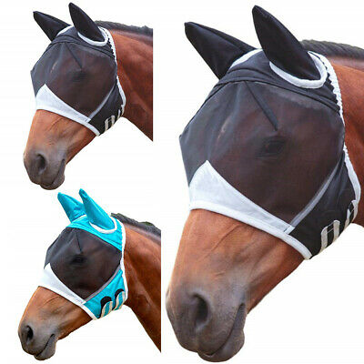 AU Horse Fly Mask Pony Cob Mesh Veil Hood Eye Ear Protective Cover Anti-Moquito