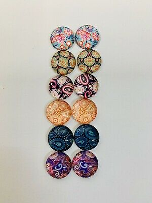 6 Pairs Of 12mm Glass Cabochons #1034