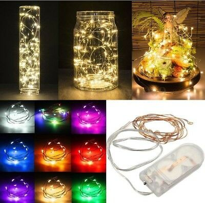 20/50/100 LED Micro Copper Wire Fairy String Lights Battery Powered Xmas Decor