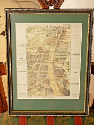 c1890 London Strand Birds Eye View Ruffle Sulman Old Antique Map Framed Coloured