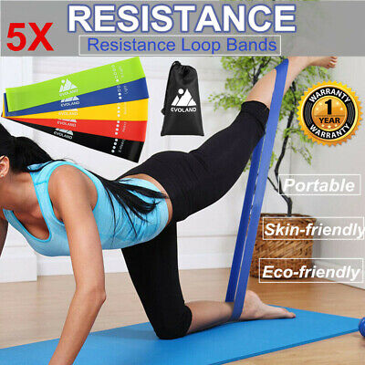 Professional Resistance Exercise Loop Bands Home Gym Fitness Natural Latex Set