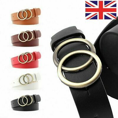 Retro Lady Leather Waist Belt Double Round Metal Adjustable Buckle Belt Textured