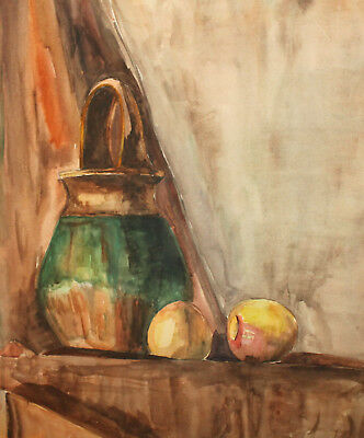 Original Vintage Watercolor Painting Still Life With Basket And Apples