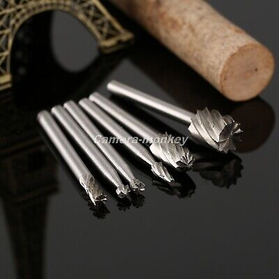 UK 6pcs HSS Routing Router Grinding Bits Burr Milling Cutter Power Rotary Tool