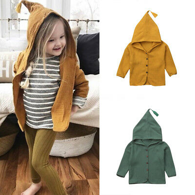 Toddler Kids Baby Boys Girl Cotton Cardigan Hooded Casual Tops Outerwear Outfits