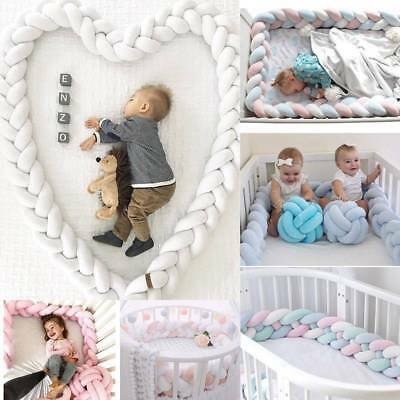 1/1.5/2/3M Infant Plush Crib Bumper Bed Bedding Cot Braid Pillow Pad Protector