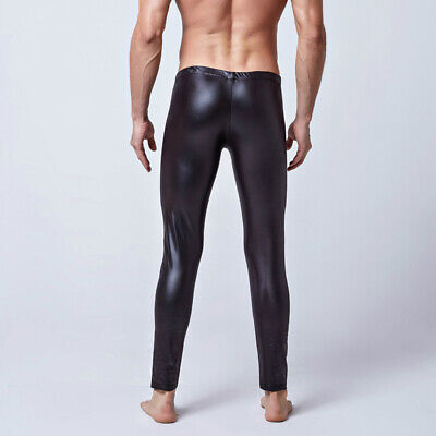 Mens Pants Male Trousers Cosplay Pants Faux Leather Slim Fit Bottoms Stage