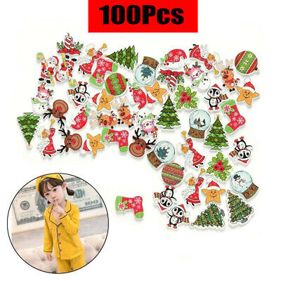 100Pcs 2 Holes Scrapbooking Sewing Santa Claus Deer Wooden Christmas Buttons DIY