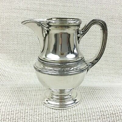 Christofle Silver Plate Creamer Jug RUBANS Gallia Antique French Silverplate