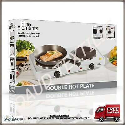 2500W Fine Element Double Hot Plate Twin Thermostatic Control With Non Slip Feet