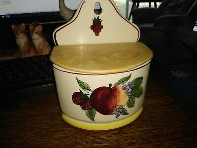 ceramic wall pocket with lid,,,fruit motif