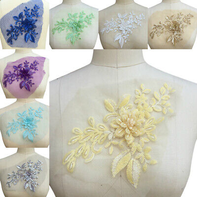 1 PC 3D Flower Embroidery Lace Sequins Trim Ribbon Traditional Craft Sewing DIY