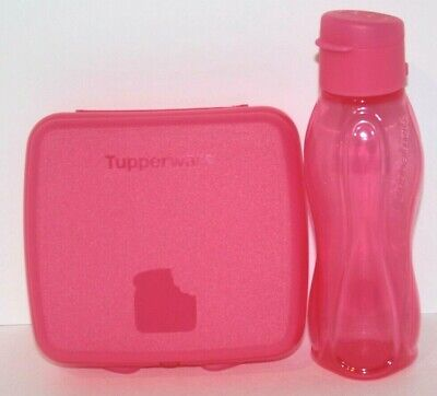 Tupperware Lunch Set Sandwich Keeper & Eco Bottle 10 oz. Extra Small Pink Punch