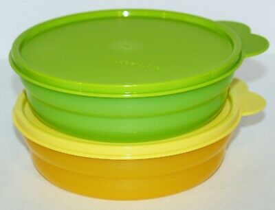 Tupperware Cereal Bowls Set of 2 Green & Yellow 2 Cup Salad & Soup Containers