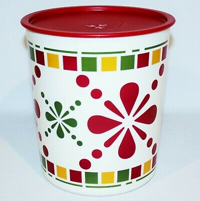Tupperware Canister One-Touch Maxi E 23 Cup Container Happy Hacienda Red