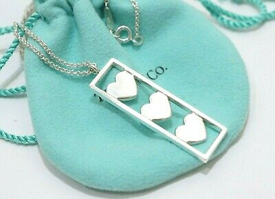 Tiffany & Co. Sterling Silver Triple Heart Bar Pendant Necklace