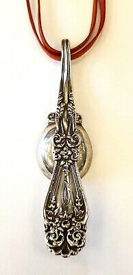 Solid sterling silver hallmarked antique large American spoon pendant necklace