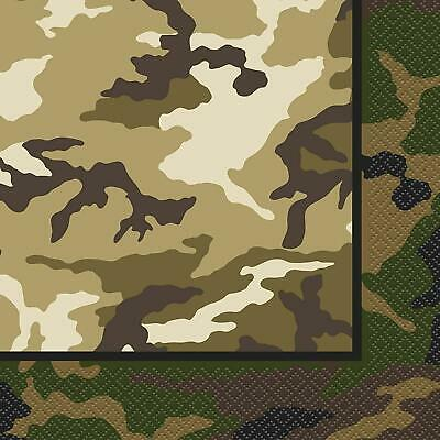 Military Camouflage Pack Of 16 Party Napkins 2 Ply Tableware Army New Gift