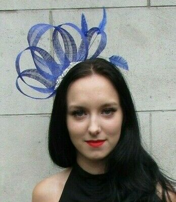 Royal Blue Silver Feather Fascinator Sinamay Wedding Races Cocktail Hair 7321
