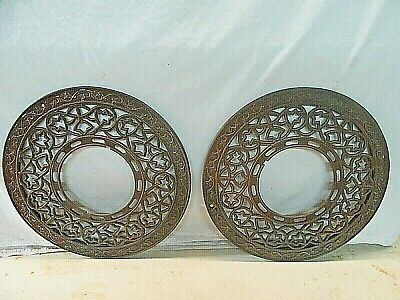 "Antique 15.5"" Ornate Round Cast Iron Wall Floor Chimney Heat Grate 1900's"