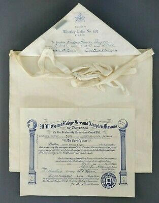 Vintage Freemason Ceremonial Apron Masonic Certificate 1957 Lodge 601 Chatt TN