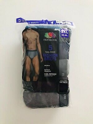 """Fruit of the Loom Men's Fashion Briefs Assorted Tag Free 5 Pack Size 2XL ✨44-46"""""""