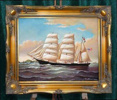 "Listed ""Portrait Of Old Usa Tall Ship Ii"" Hand Painted Painting Museum Q Framed"