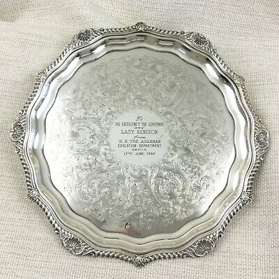 1960 The Aga Khan IV Silver Plate Tray Royal Presentation Gift Governor of Kenya