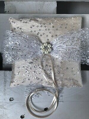 Champagne Wedding Ring Cushion Bearer Pillow Sparkly Lace Pearl Diamanté GLAM