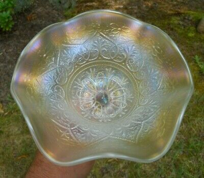 Nice! Vintage Northwood Hearts And Flowers White Carnival Glass Compote