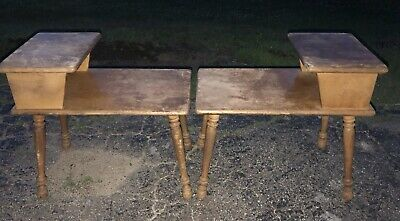 Set Of 2 Vintage Mid Century Modern 2 Tier Step Up Side End Table Tapered Legs