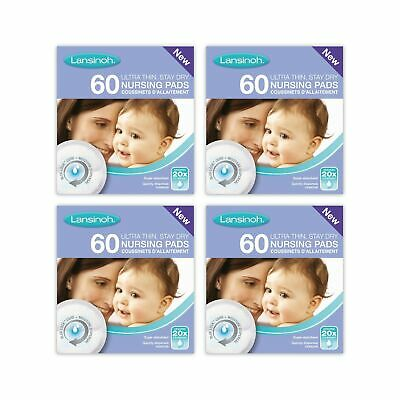 Lansinoh Disposable Nursing Breast Pads with Blue-Lock core pack of 4 x 60 pa...