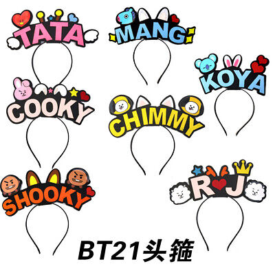 Kpop BTS BT21 Headband HairBand Hairpin TATA MANG COOKY Hair Accessories Tracked