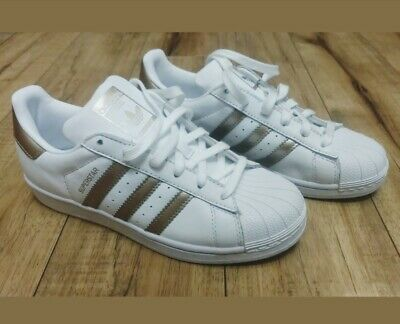 adidas Superstar J White Rose Gold Athletic Running Shoes 6y Size 7.5 Womens
