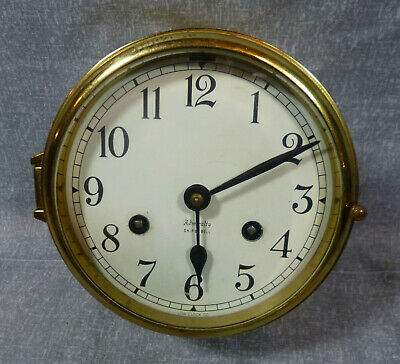 WWII Vintage Brass Maritime Admiralty Ships Bell Clock by Low Clock Co.