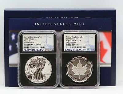 2019 Pride of Two Nations Silver Eagle Maple Leaf NGC PF69 Sign COA Enhanced Rev