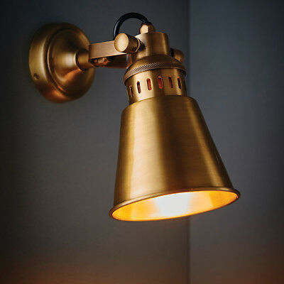 Endon Elms Wall Light Vintage Style Antique Solid Brass 15W LED E27 Dimmable