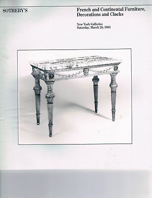 Sotheby's - French & Continental Furniture, Decorations, & Clocks Mar 26 1983