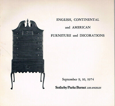 Sotheby's   English, Continental & American Furniture & Decorations Sept 9 1974