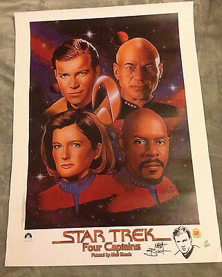 STAR TREK FOUR CAPTAINS POSTER Limited Edition with Matt Busch drawing